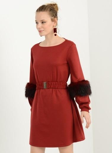 People By Fabrika Uzun Kollu Elbise Kırmızı